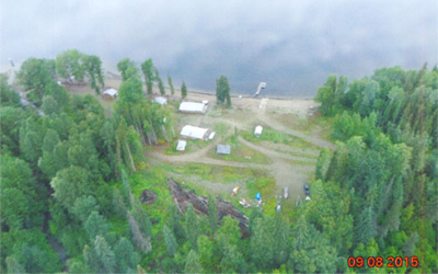 Aerial view of The Narrows on Takla Lake - lakefront cabins for rent