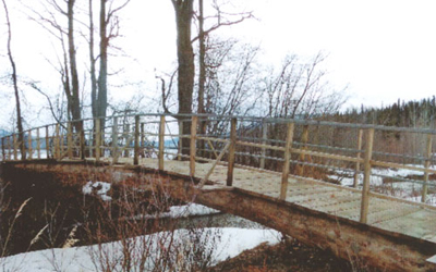 New Footbridge at The Narrows on Takla Lake - lakefront cabins for rent